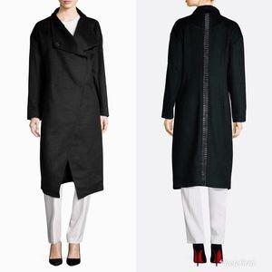 Badgley Mischka Long Wool Leather Back Inset Coat
